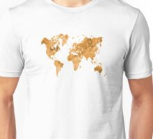 World map in watercolor orange Unisex T-Shirt