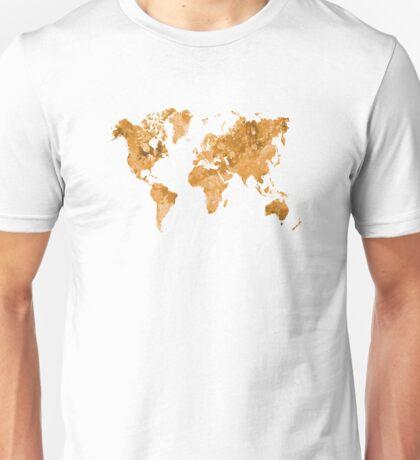 World map in watercolor orange Unisex T-Shirt