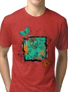 Skull and Butterfly-Green Tri-blend T-Shirt
