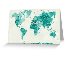World map in watercolor green Greeting Card