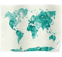 World map in watercolor green Poster