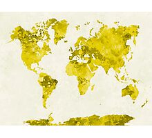World map in watercolor yellow Photographic Print