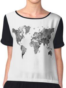 World map in watercolor gray Chiffon Top