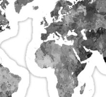 World map in watercolor gray Sticker