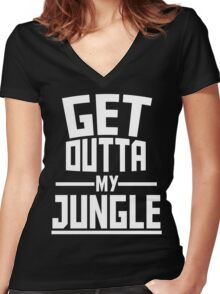 Get Outta My Jungle v2 Women's Fitted V-Neck T-Shirt