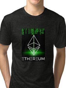 Ethereum logo symbol green coding Tri-blend T-Shirt