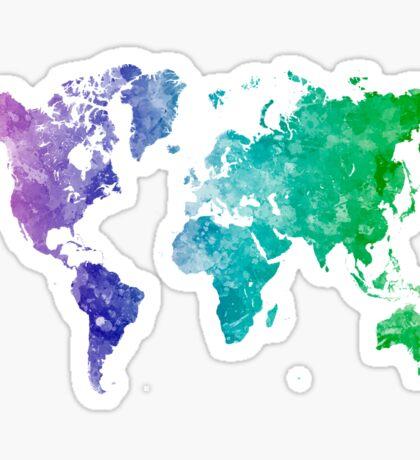World map in watercolor multicolored Sticker