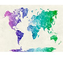 World map in watercolor multicolored Photographic Print