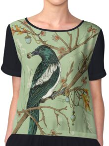 Magpie Birds Chiffon Top