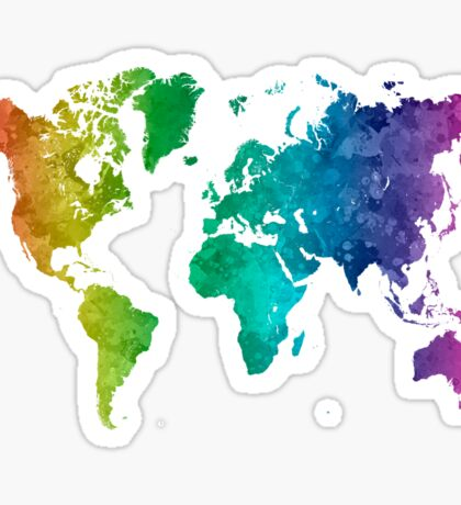 World map in watercolor rainbow Sticker