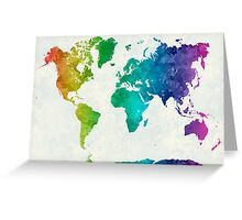 World map in watercolor rainbow Greeting Card
