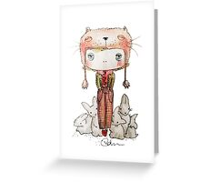 Hound Hatted Bunny Boy Greeting Card