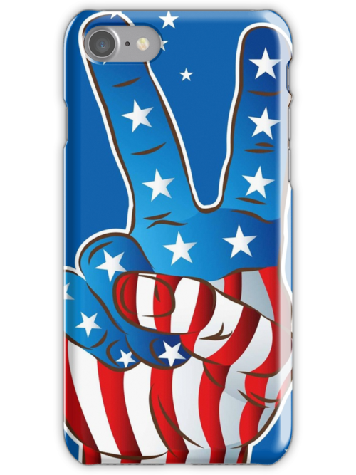 American Patriotic Victory Peace Hand Fingers Sign by CroDesign