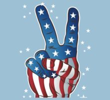 American Patriotic Victory Peace Hand Fingers Sign Kids Clothes