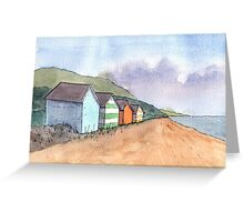 Watercolour Beach Huts Greeting Card