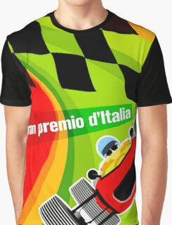 """""""ITALY GRAND PRIX"""" Vintage Auto Racing Advertising Print Graphic T-Shirt"""