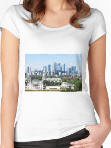 Canary Wharf Skyline - view from Greenwich Women's Fitted Scoop T-Shirt
