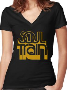 SOUL TRAIN (YELLOW) Women's Fitted V-Neck T-Shirt