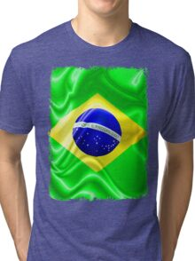 Brazil Flag Waving Silk Fabric Tri-blend T-Shirt