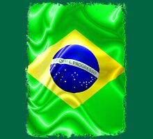 Brazil Flag Waving Silk Fabric Unisex T-Shirt