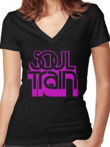 SOUL TRAIN (PURPLE) Women's Fitted V-Neck T-Shirt