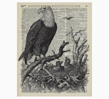 Eagles in Nest,Pen and Ink Drawing,Vintage Dictionary Book Page Art One Piece - Short Sleeve