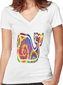 Tie dye whale Women's Fitted V-Neck T-Shirt