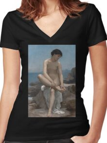 The Bather (1879) by William Bouguereau  Women's Fitted V-Neck T-Shirt