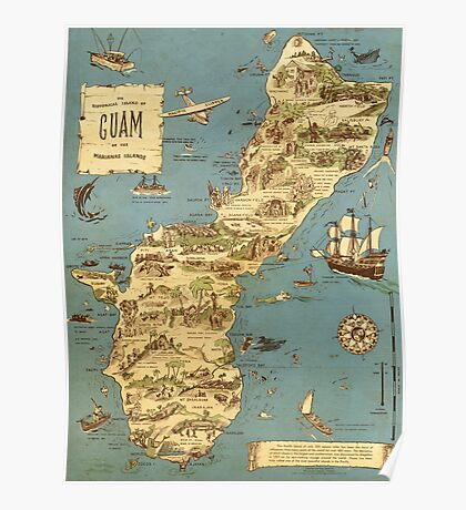 Vintage 1949 guam map - christmas gift for her Poster