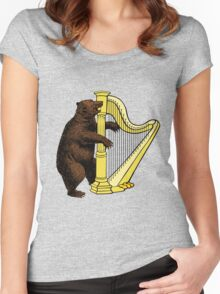 Bear Playing Harp Women's Fitted Scoop T-Shirt