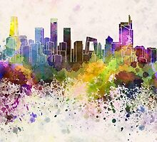 Beijing skyline in watercolor background by paulrommer