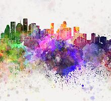 Houston skyline in watercolor background by paulrommer