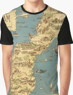 Vintage 1949 guam map - christmas gift for her Graphic T-Shirt