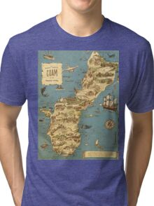 Vintage 1949 guam map - christmas gift for her Tri-blend T-Shirt