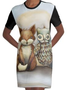 fox and owl Graphic T-Shirt Dress
