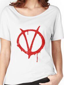 V for Vendetta Vintage Symbol Women's Relaxed Fit T-Shirt