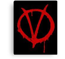 V for Vendetta Vintage Symbol Canvas Print