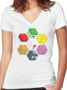 Nintendo Cubed Women's Fitted V-Neck T-Shirt