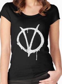 V for Vendetta Vintage Symbol Women's Fitted Scoop T-Shirt