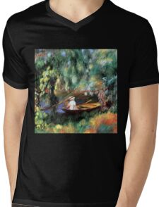 The Skiff On The Sienne by Renoir Mens V-Neck T-Shirt