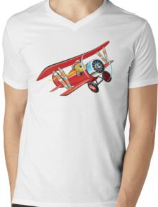 Cartoon biplane Mens V-Neck T-Shirt