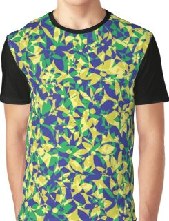 Crowded Flowers - Yellow Blue and Green Graphic T-Shirt