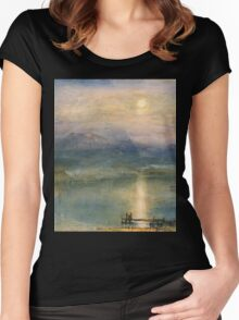Moonlight on Lake Lucerne with the Rigi in the Distance by William Turner Women's Fitted Scoop T-Shirt