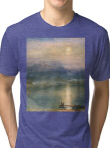 Moonlight on Lake Lucerne with the Rigi in the Distance by William Turner Tri-blend T-Shirt