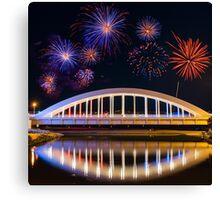 Bridge and Fireworks Canvas Print