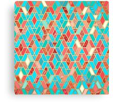 Melon and Aqua Geometric Tile Pattern Canvas Print