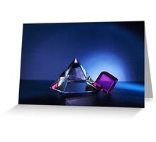 A Purple Cube With A Glass Pyramid Greeting Card