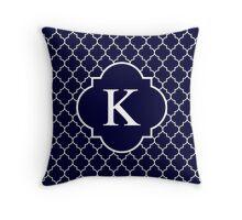 Navy Blue Quatrefoil White Monogram K Throw Pillow