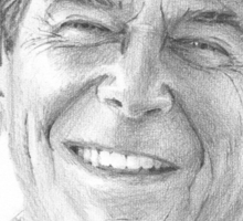 Ronald Reagan cowboy drawing closeup Sticker