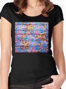 Trendy Floral Pattern Vintage Women's Fitted Scoop T-Shirt